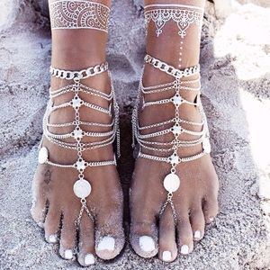 Jewelry - SET OF 2 Boho Silver Coin Bare Foot Sandal Anklet